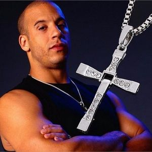 Fast & Furious Crystal Cross Mens Pendant Necklace